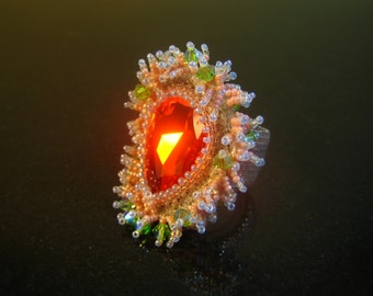 Orange Swarovski Party Ring