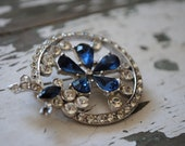 Vintage Blue and Clear Rhinestone Circle Brooch/Pin