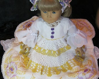 "Keepsake quality, 7 piece,Vintage linen doll Ball Gown for 18"" dolls like American Girl, Sunrise Sunset, purple,gold,vintage hankie headband"