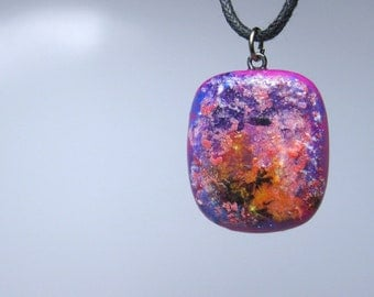 Polymer Clay Necklace, Jewelry, Pendant, Glazed, Handmade Fuchsia Water Color Abstract Necklace.