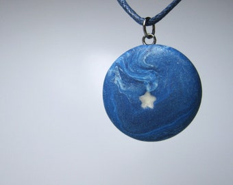 Star Necklace, Polymer Clay, Blue and White Star Pendant Jewelry