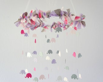Nursery Mobile Elephants in Pink Lavender Gray - Nursery Decor, Baby Shower Gift