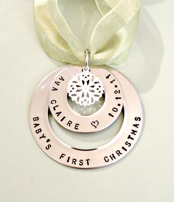 Baby 39 s first christmas personalized hand stamped for Babys first christmas decoration