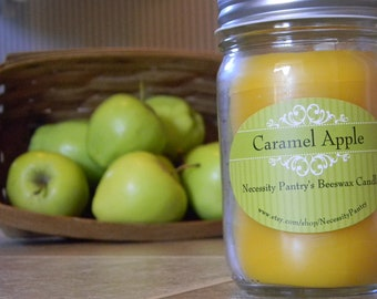 Beeswax candle in glass jar - Caramel Apple, 8 oz Organic Beeswax from Local Supplier
