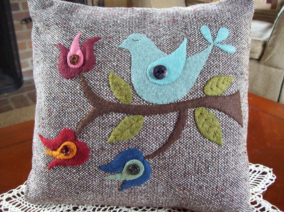 Folk Art Blue Bird on Brown Tweed Pillow Slipcover