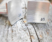 Cuff links- square sterling silver - mens gift- wedding- groom- fathers day- anniversary gift -square cuff links, silver cuff links