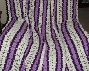 Orchid Victorian Lace Afghan FREE SHIPPING on 2nd Item to Same Address