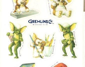 Vintage 1983 Gremlins Hallmark Party Stickers Halloween Decor Scrap Booking
