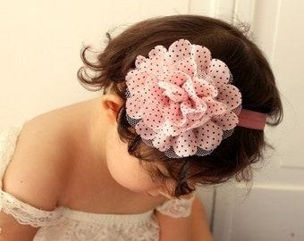 baby girl headband..pink and blush headband..newborn headband..girl headband, toddler headband..photography prop,birthday prop