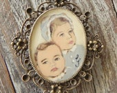 Vintage brooch with hand painted portrait of your child