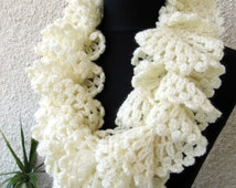 CROCHET PATTERN Ruffle Scarf, Marvellous Ruffle Lace Scarf, Christmas Crochet DIY Craft, Instant Download Lyubava Crochet Pdf Pattern No.97