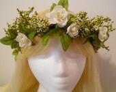 Flower Crown, Head Wreath, Winter White Weddings White Rose Baby's Breath Green Flower Girl Bride Bridal, Woodland, Fairy, Mori Girl Elf