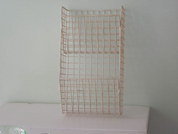 Vintage White Coated Wire Hanging Magazine Holder 2 Tiered Wall Rack
