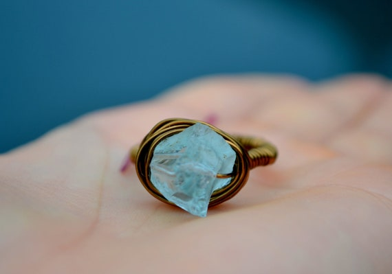 OOAK Rough Aqua blue Icy Quartz nugget ring - Brass wire wrapped ring - 8 - Any size