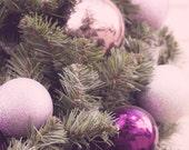 Purple Christmas Ornaments - 8x10 photograph - fine art print - glitter christmas ornaments holiday art