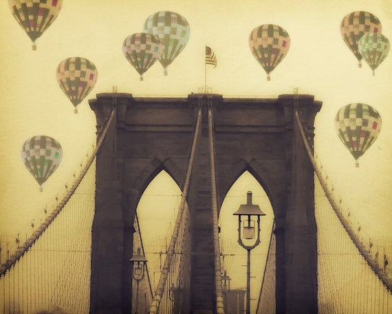 "Brooklyn Bridge - 8x10 photograph - ""Balloons over the Bridge"" - fine art print - vintage photography - Hot Air Balloons - whimsical"