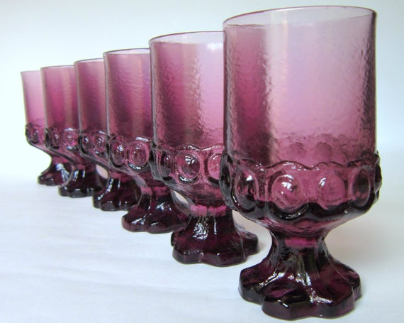 Vintage Purple Franciscan Madeira Water Goblets, 6 Amethyst  Footed Tumblers by Tiffin, Glasses