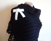 Black knitted Shawl, wool scarf, rectangle Shawl, scarf, cowl, shawl,  Stole, pin-up with bow brooch, Holiday gifts, handmade gifts.