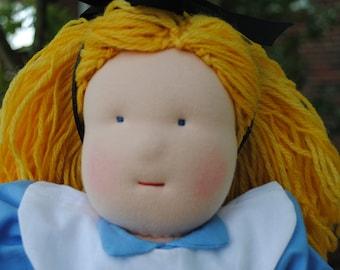 Alice in Wonderland inspired 18 in waldorf doll