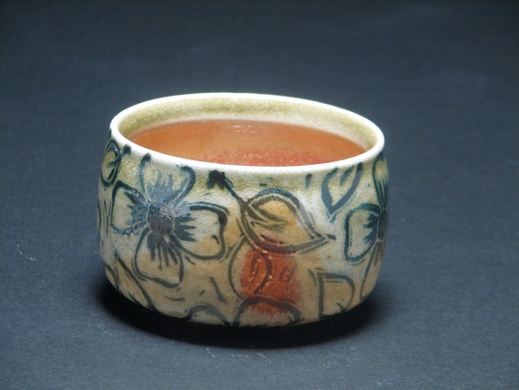 SALE Matcha Tea Bowl with Dogwood Design