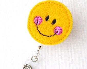Happy - Name Badge Holder - Cute Badge Reels - Unique Retractable ID Badge Holder - Felt Badge Reel - Peds RN Badge - BadgeBlooms