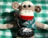 Philadelphia Eagles Football Red Heel Sock Monkey Doll