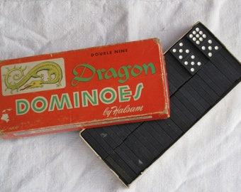 Price Reduced -Set of 54 Vintage Wooden Dragon Dominoes - In Original Box