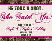 Camo Save the Date - Wedding Hunting Camouflage Pink Orange Blue He Took A Shot The Hunt Is Over Photo Picture Postcard