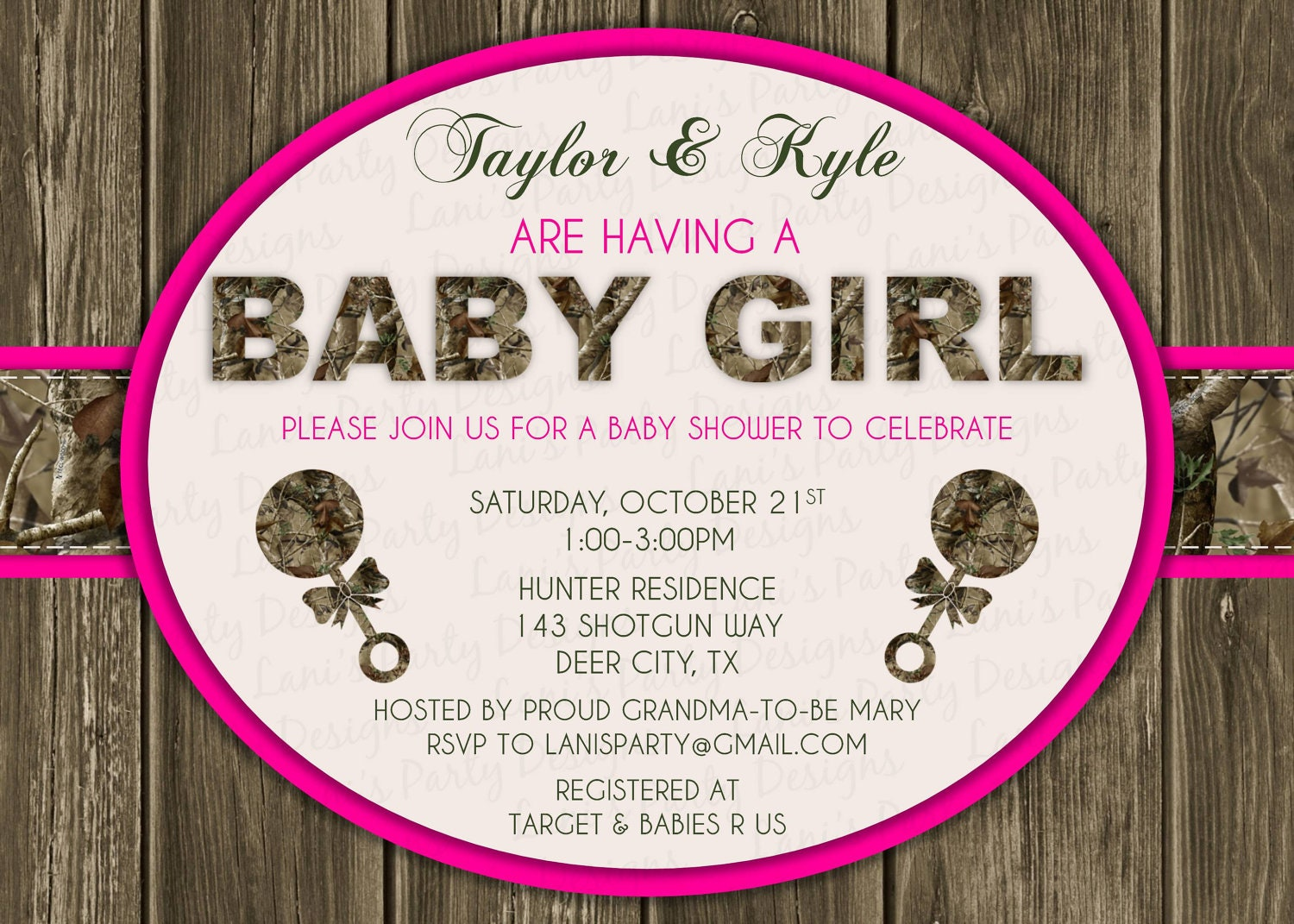 pink wood hunting camo baby shower invitation digital