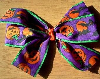 halloween hair bow black purple orange green toddlers girls women goth punk punkins bats