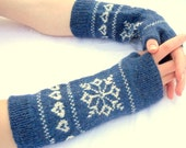 Merino wool gloves,wool fingerless gloves,blue white wrist warmers,womens fingerless mittens,winter fashion accessory,Christmas gift for Her