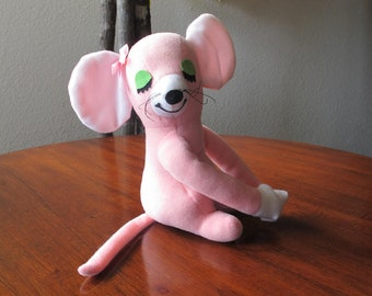 1970's Dakin Little Huggies Mouse With Velcro Clasping Hands