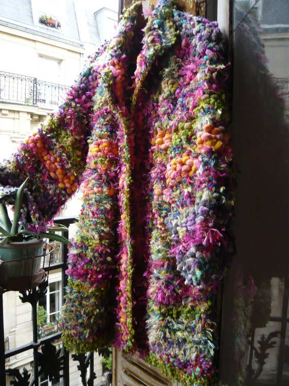 handknitted coat,eccentric,fairy,luminous,colourful,psychedilic,thousand flowers with different yarns and threads reserved for Ana.