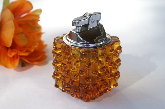 Vintage Fenton Cigarette Table Lighter Amber Glass Hobnail