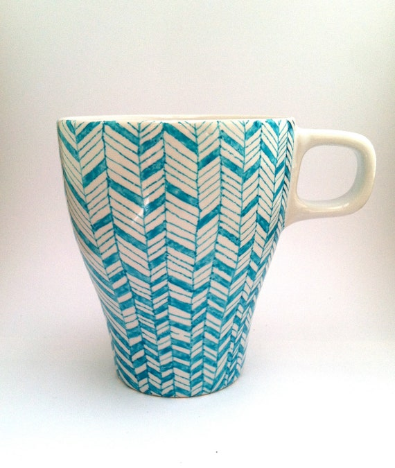 Hand-painted Coffee Mug - Blue & White