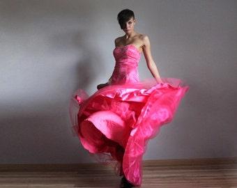 Neon pink detachable mermaid skirt wedding prom princess dress S-M