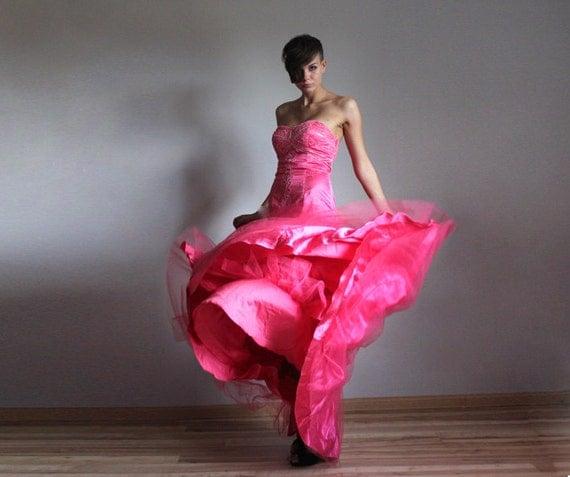 Neon pink detachable mermaid skirt wedding prom princess dress S-M