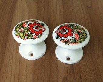 Vintage White Ceramic Door Knobs, Сeramic Door Handles, Drawer Knobs, 2 pieces