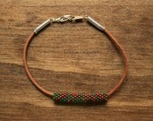 Cranberry Red and Leaf Green Random Dot Holiday Peyote Tube and Leather Bracelet