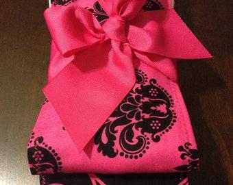 NEW ITEM VERY GiRly PiNk Baby Girl Burp Cloth Set Damask Swirls Polka Dots Baby Shower Gift Personalized Monogrammed