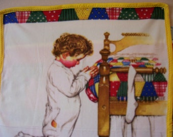 Soft Fleece Baby Blanket with bedtime prayer by Norman Rockwell