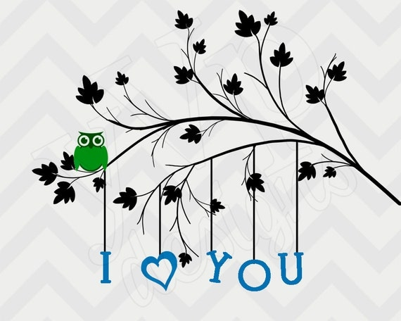 Hanging I Love You tree print baby boy nursery