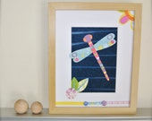 Children Wall Art, Dragonfly Decor,  Garden Theme Nursery, 8x10 Art for Kids