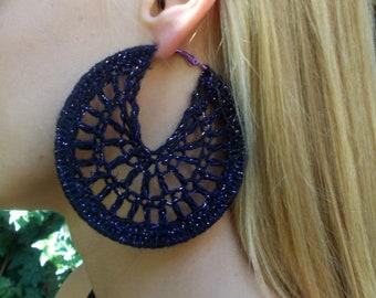 Large, Round, Hand Crochet, Black, Metallic Purple, Earrings with Purple Hoops for Women