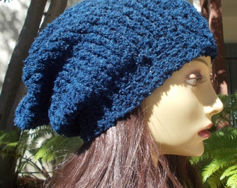 Dark Blue, Hand Knit, Soft, Nubby, Slouchy Beanie Hat for Women or Men