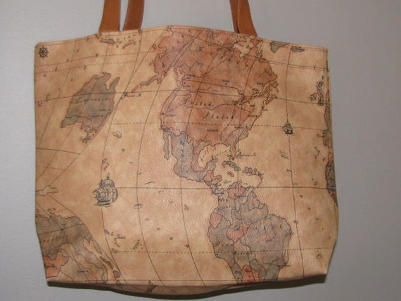 International Map World Atlas Bag Vintage Purse 90 S
