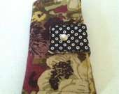 Clutch Wallet with Mulberry Purples, Black and White Dots and Earthy Purple Floral Print