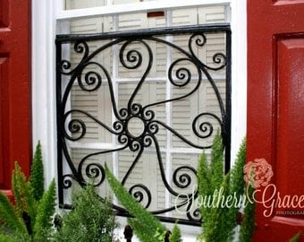 Charleston Window Iron Work - Red Window - Beautiful Iron Work - Charleston Photography - South Carolina - 8x10 Photo