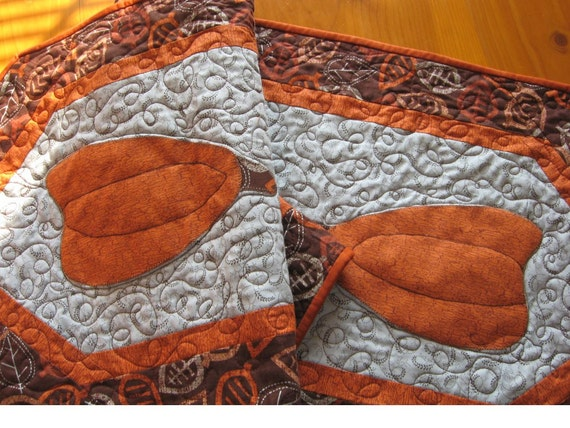 "Handmade quilted fall table runner with pumpkins, 55"" by 17"""