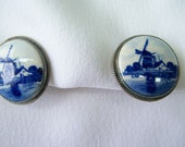 Delft painted ceramic sterling clip on earrings